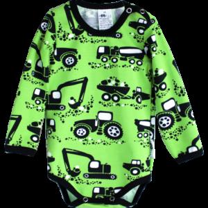 Baby Body Machines, Farbe Grün, Muster grosse Baumaschinen, Marke Paapii, Biobaumwolle, nachhaltig hergestellt