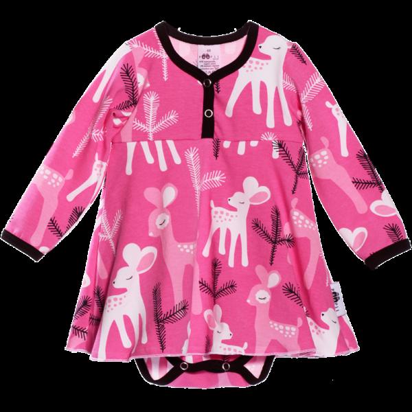 Baby Baby Bodykleid Bambi, Farbe Pink, Muster Reh, Marke Paapii, Biobaumwolle, nachhaltig hergestellt
