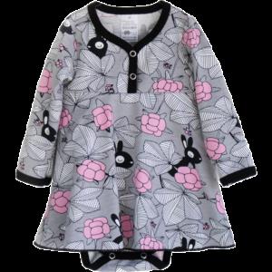 Baby Bodykleid Hilda, Farbe Grau, Muster Häschen im garten, Marke Paapii, Biobaumwolle, nachhaltig hergestellt