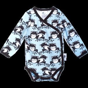 Baby Wickelbody Frogs, Farbe Hellblau, Muster Frosch, Marke Paapii, Biobaumwolle, nachhaltig hergestellt