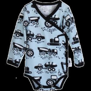 Baby Wickelbody Machines, Farbe Hellblau, Muster grosse Baumaschinen, Marke Paapii, Biobaumwolle, nachhaltig hergestellt