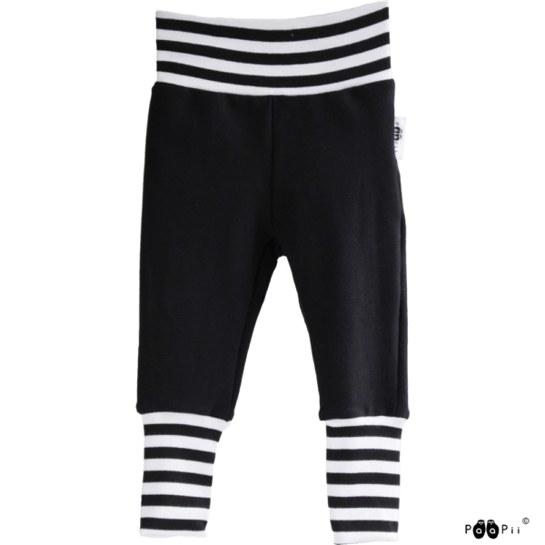 Baby Sweatpants Hosen Sisu, Farbe schwarz weiss, Marke Paapii, Biobaumwolle, nachhaltig hergestellt