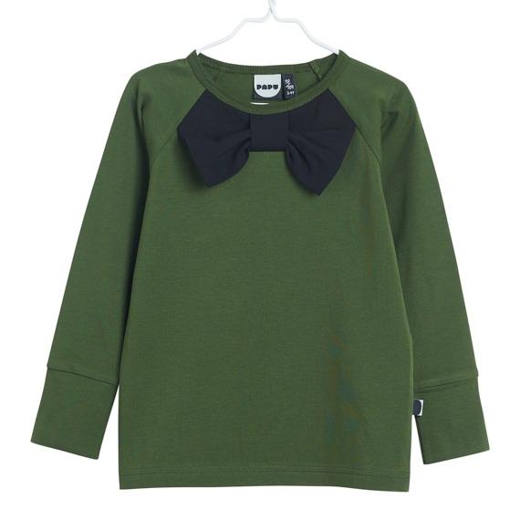 Bow Langarmshirt für Kinder aus Biobaumwolle, Farbe Grün und schwarz, Marke Papu, nachhaltig hergestellt