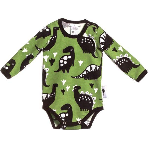 Baby Body Dino, Farbe Grün, Muster Dinosaurier, Marke Paapii, Biobaumwolle, nachhaltig hergestellt