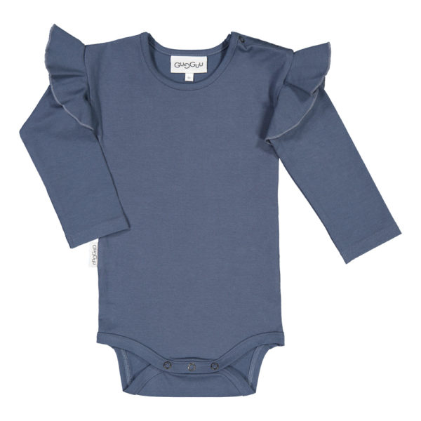 Baby Body Frilla, Farbe dunkelblau, Marke Gugguu, nachhaltig hergestellt