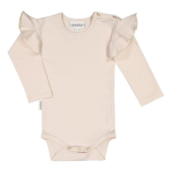 Baby Body Frilla, Farbe schneeweiss, Marke Gugguu, nachhaltig hergestellt