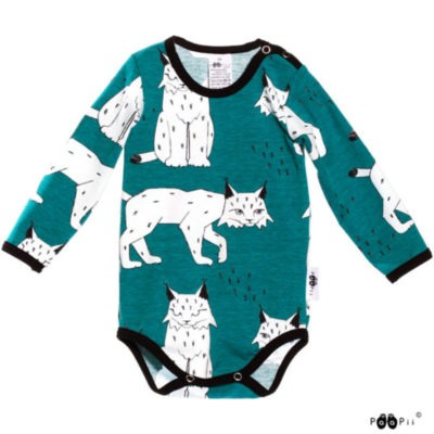 Baby Body Lynx, Farbe Petrol Blau, Muster Luchs, Marke Paapii, Biobaumwolle, nachhaltig hergestellt