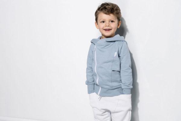 Kinder College Hoodie, Farbe blau, Marke Gugguu, nachhaltig hergestellt