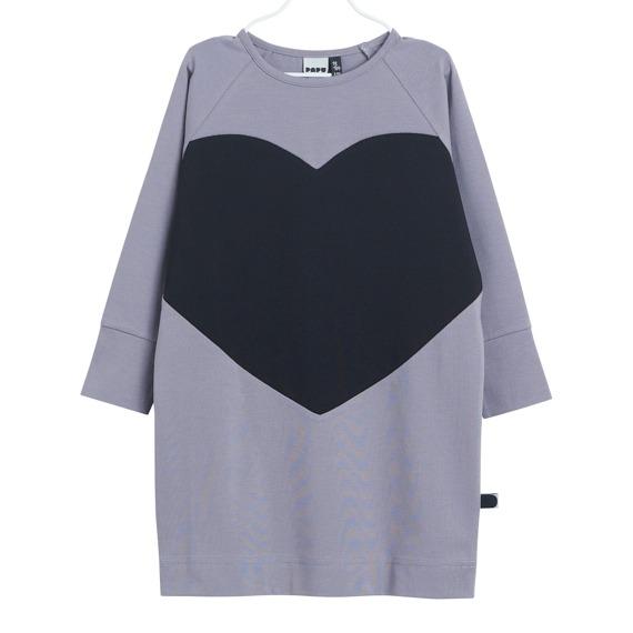 Kleid Heart für Mädchen aus Biobaumwolle, Farbe Grau und Schwarz, Marke Papu, nachhaltig hergestellt