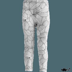 Kinder Hippa Leggings Leafs, Farbe weiss Schwarz, Marke Paapii, Biobaumwolle, nachhaltig hergestellt