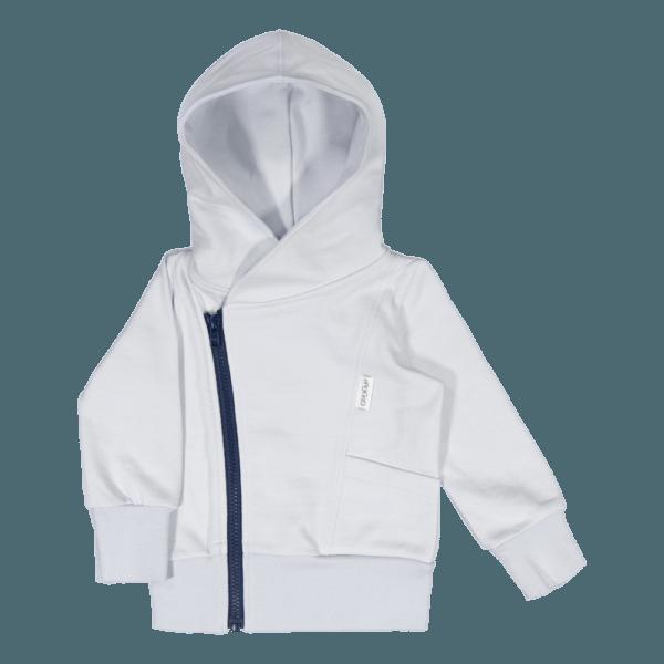 Kinder College Hoodie, Farbe schneeweiss, Marke Gugguu, nachhaltig hergestellt