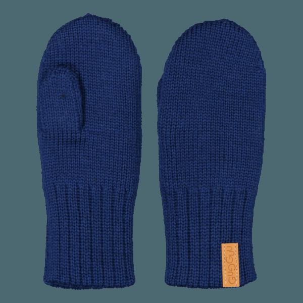 Gestrickte Kinder Fausthandschuhe, Farbe dunkelblau, Marke Gugguu, nachhaltig hergestellt