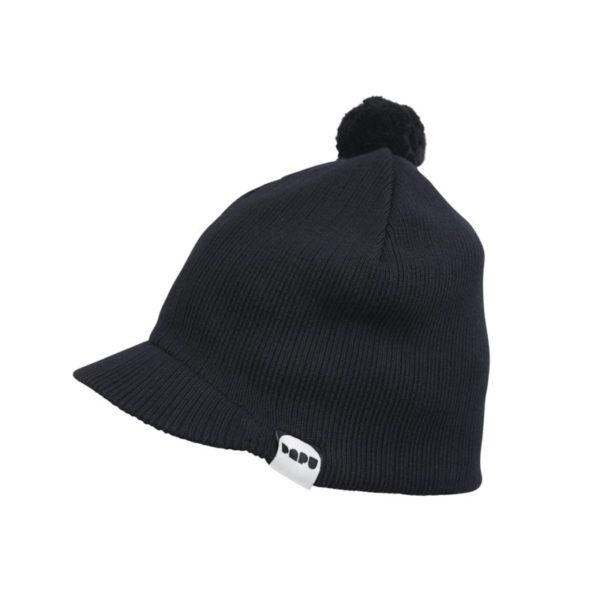 Gestrickte Kappe mit Bommel, Black