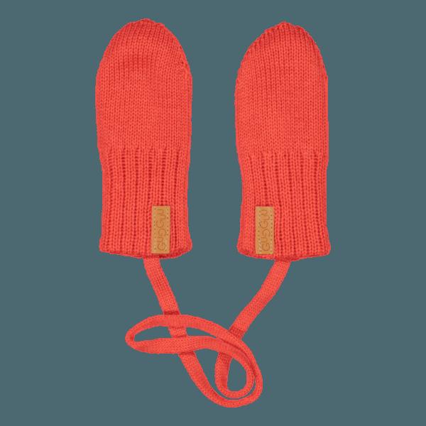 Gestrickte Baby Fäustlinge, Farbe rot, Marke Gugguu, nachhaltig hergestellt