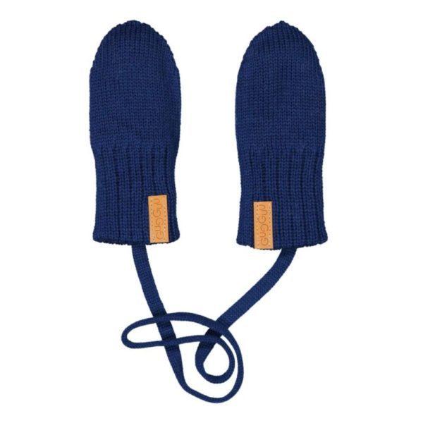Gestrickte Baby Fäustlinge, Farbe dunkelblau, Marke Gugguu, nachhaltig hergestellt