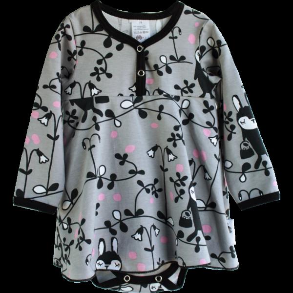 Baby Bodykleid, Linnea, Farbe Grau, Muster Häschen, Marke Paapii, Biobaumwolle, nachhaltig hergestellt