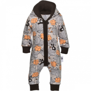 Baby Overall Hilda mit Kaputze, Farbe grau, Muster Häschen im garten, Marke Paapii, Biobaumwolle, nachhaltig hergestellt