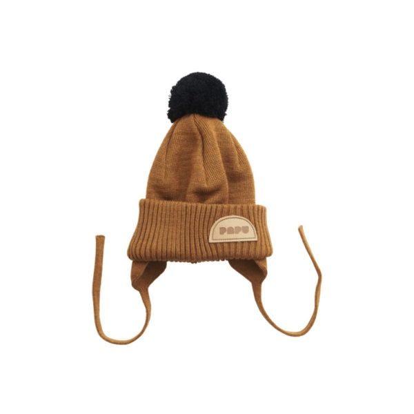Baby Wollmütze Pom Pom, Monkey Brown