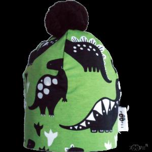 Kinder Mütze PomPom Dino, Marke Paapii, Biobaumwolle, nachhaltig hergestellt