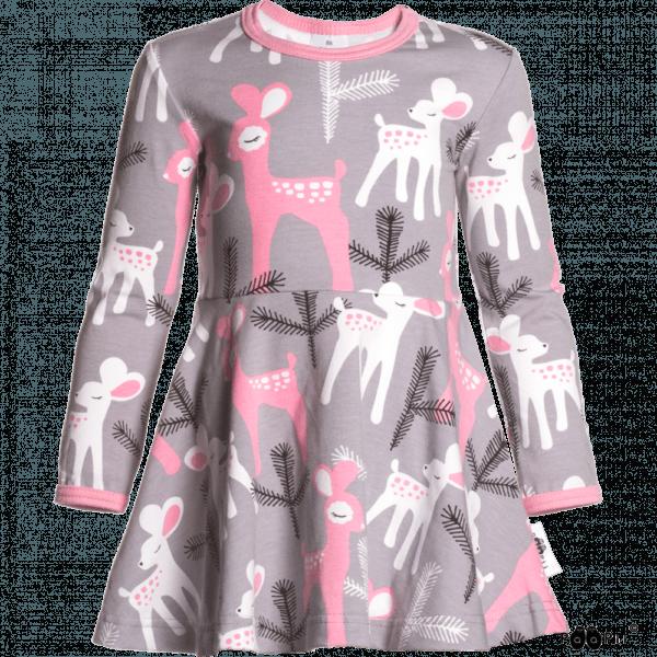 Kinder Kleid Sinna Bambi, Farbe Grau und Pink, Muster Bmbi, Marke Paapii, Biobaumwolle, nachhaltig hergestellt