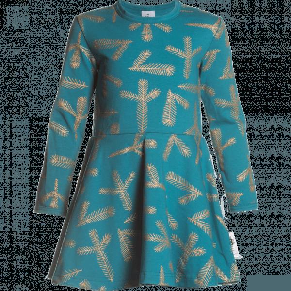 Kinder Kleid Sinna Havu , Farbe Petrol und Gold, Muster Tanne, Marke Paapii, Biobaumwolle, nachhaltig hergestellt