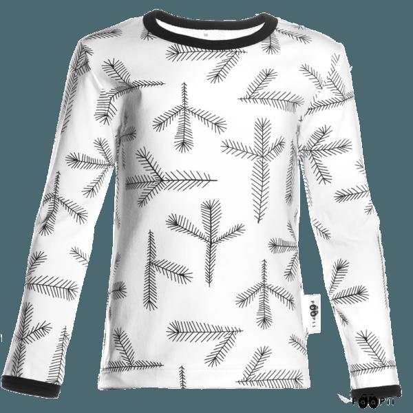 Kinder Langarmshirt Uljas Havu, Farbe weiss, Muster Tannen, Marke Paapii, Biobaumwolle, nachhaltig hergestellt