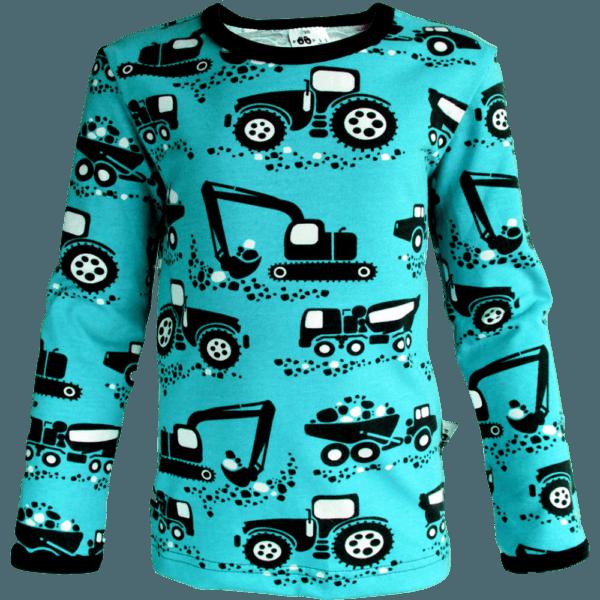 Kinder Langarmshirt Uljas Machines, Farbe Türkisblau, Muster grosse baumaschinen, Marke Paapii, Biobaumwolle, nachhaltig hergestellt