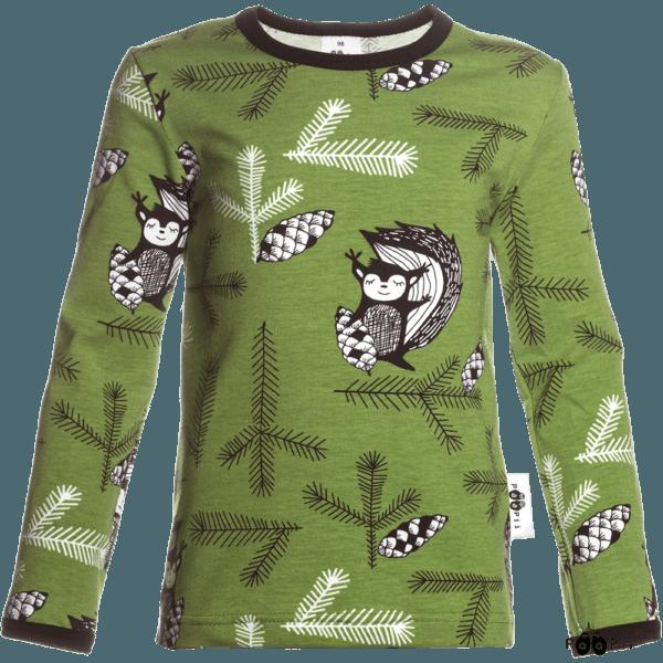 Kinder Langarmshirt Uljas Squirrel, Farbe grün, Muster eichhörnchen, Marke Paapii, Biobaumwolle, nachhaltig hergestellt