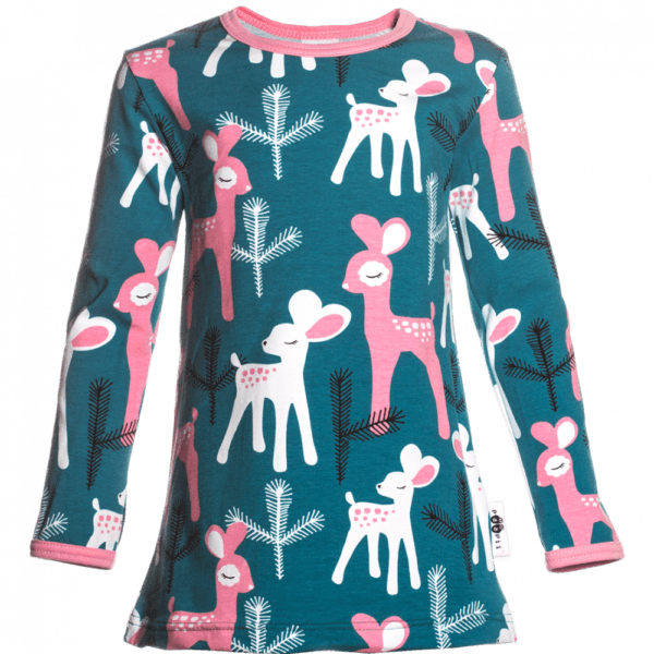 Kinder Tunika Vieno Bambi, Farbe Petrol blau, Muster Reh, Marke Paapii, Biobaumwolle, nachhaltig hergestellt