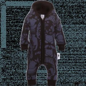 Baby Overall mit Kaputze, Farbe Dunkelblau, Muster Gates of Pohjole, Marke Paapii, Biobaumwolle, nachhaltig hergestellt