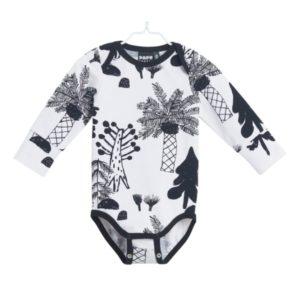 Baby Body Hidden Forest, Farbe Weiss und Schwarz, Marke Papu, Biobaumwolle, nachhaltig hergestellt