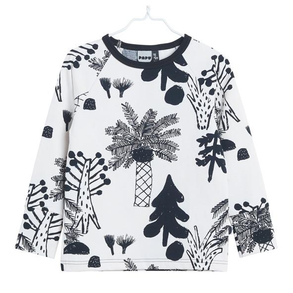 Langarmshirt für Kinder Hidden Forest, Farbe Weiss und Schwarz, Marke Papu, Biobaumwolle, nachhaltig hergestellt