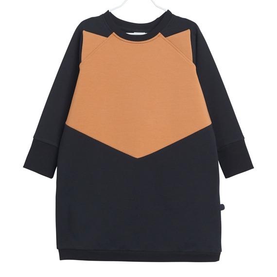 Kleid für Mädchen Fox, Farbe Schwarz und Braun, Marke Papu, Biobaumwolle, nachhaltig hergestellt