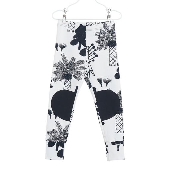 Patch Leggings für Kinder Hidden Forest, Farbe Weiss und schwarz, Marke Papu, Biobaumwolle, nachhaltig hergestellt