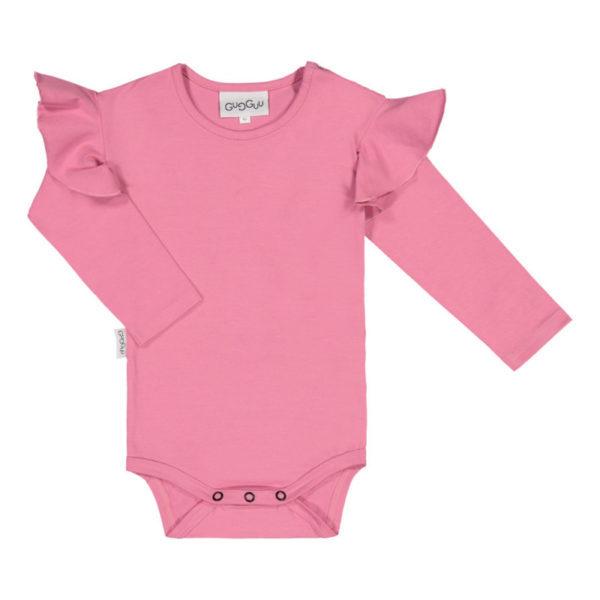 In diesem Body aus einem dicken und weichen Jersey-Stoff fühlt sich ein Baby wohl. Mit lustigen Krausen an den Schultern.