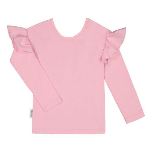 Dieses Mädchen Langarmshirt ist schlicht, aber dank den schönen Rüschenärmeln auch gleichzeitig verspielt. Das Shirt ist aus einem elastischen und weichen Jersey-Stoff hergestellt.