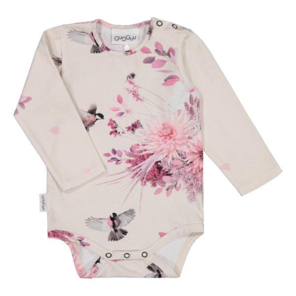 In diesem Body aus einem dicken und weichen Jersey-Stoff fühlt sich jedes Baby wohl. Schönes Muster mit Blumen und Vögeln.