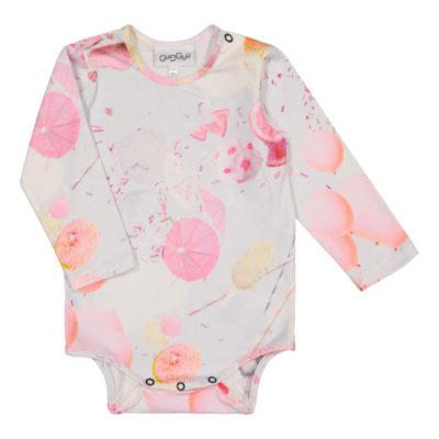 Ein Baby Langarmbody mit einem schönen Ice Cream Muster in Pink