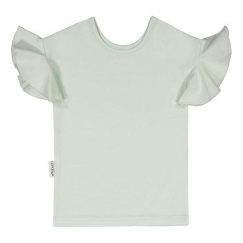 Dieses T-Shirt hat einen schönen, schmalen Schnitt und lustige Rüschenärmeln. Der Jerseystoff ist qualitativ sehr hochwertig und angenehm weich.