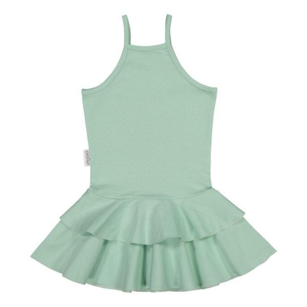Ein schickes Kleid mit Spagettiträgernund einem schmalen Schnitt. Der Baumwollejersey ist weich und elastisch. Ein Sommertraum für alle Mädchen!
