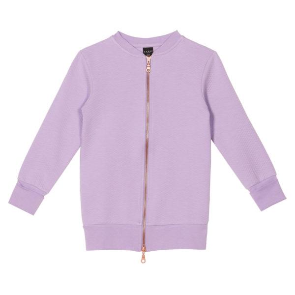 Kinder Lange Bomberjacke, Moss Jacquard Lavender aus Biobaumwolle von aarrekid