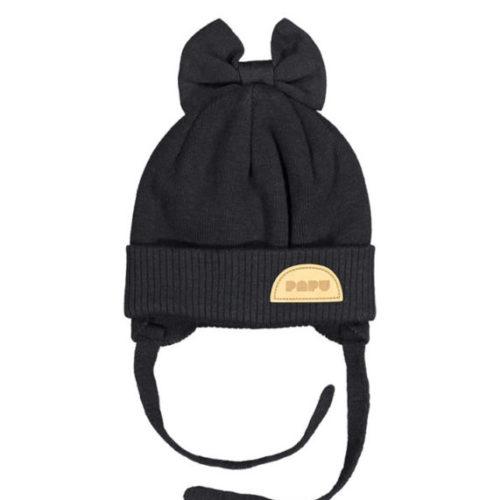 Baby Wintermütze Bow Beanie Black