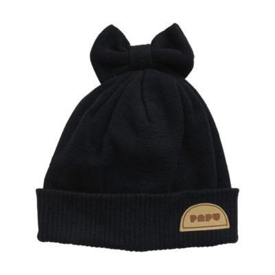Wintermütze Bow Beanie Black von Papu