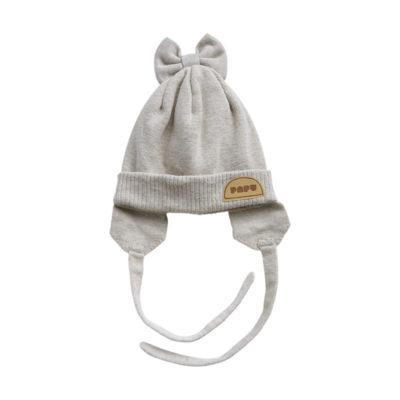 Baby Wollmütze Bow Beanie Cream Melange, aus Merinowolle