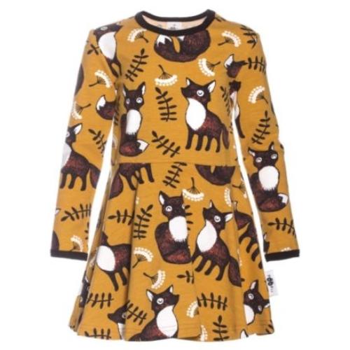 Mädchen Kleid Nuutti in Ocker, aus Biobaumwolle