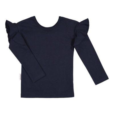 Ein Langarmshirt für Mädchen mit Rüschen an den Ärmeln