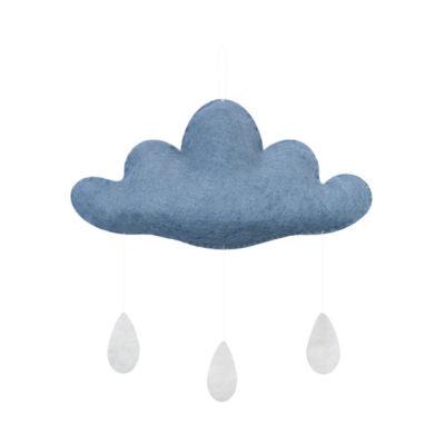 EIn kleines schönes Mobile Wolke in Beige für das Baby oder Kinderzimmer, aus Filz