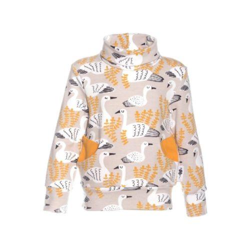 Ein sand farbiges Sweatshirt mit einem Schwan Print von der Marke Paapii